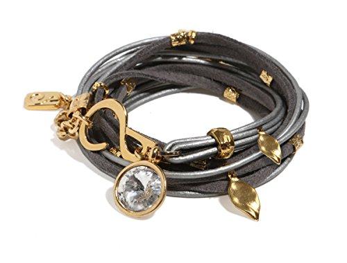 Swarovski Wrap Bracelet Around (SEA Smadar Elegantly Designed And Handmade Light Grey Ivy Pop, Wrap Bracelet With Leather, 24K Gold Plated Elements And Silver Shade Swarovski Crystal)