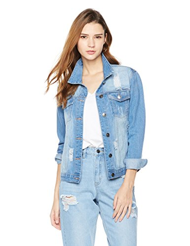 Lily Parker Women's Distressed Button Front Stretch Denim Jacket Medium Mid Blue by Lily Parker