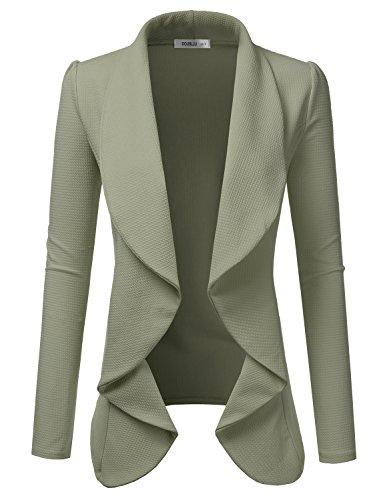 - TWINTH Women's Office Blazer Jacket Open Front Sage X-Large