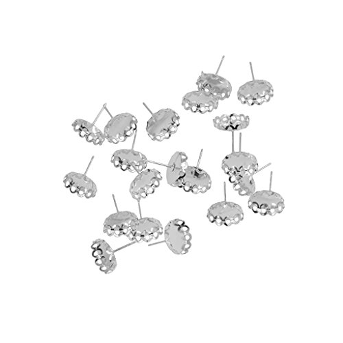 Baosity 20 Pieces 12mm Earring Cabochon Setting Blank Ear Studs Bazel Pad for Jewelry Makings - Silver ()