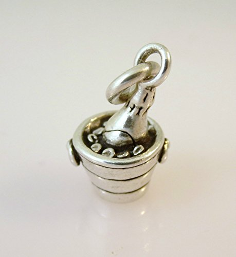 Sterling Silver CHAMPAGNE BOTTLE IN BUCKET CHARM Pendant Wine NEW 925 KT20 Jewelry Making Supply Pendant Bracelet DIY Crafting by Wholesale (Wholesale Champagne Buckets)