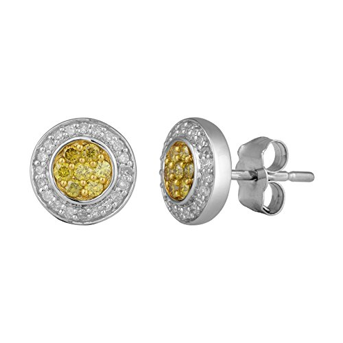 Jewelili femme  9carats (375/1000)  Or blanc #Gold Rond   Jaune Diamant