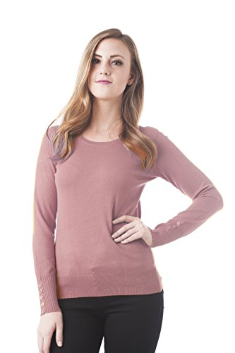 (Long Sleeve Crewneck Knit Sweater Top with Button On The Sleeves (Small, Rose Pink))