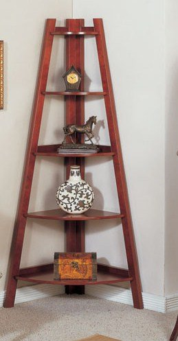 5 Tier Wooden Corner Bookshelf In Cherry Finished
