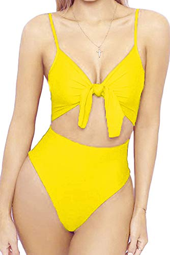 Sexy Tie Front - Qearal Womens One Piece Swimsuit Cutout Tie Knot Front Monokini Bikini Bathing Suits (XL, 05 Yellow)