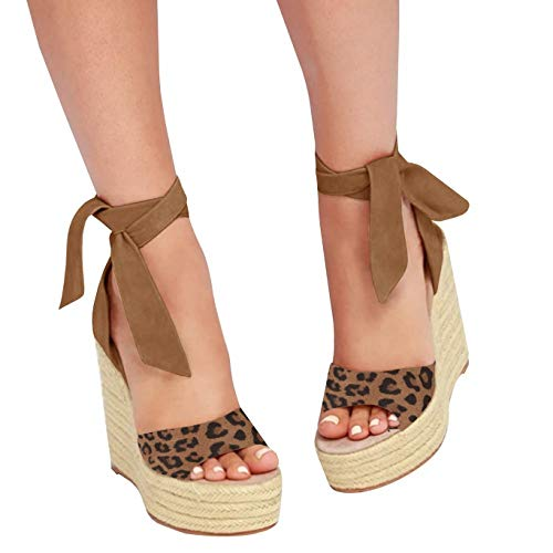 Liyuandian Womens Platform Espadrille Wedges Open Toe High Heel Sandals with Ankle Strap Buckle Up Shoes (9 M US, B Leopard-Print)