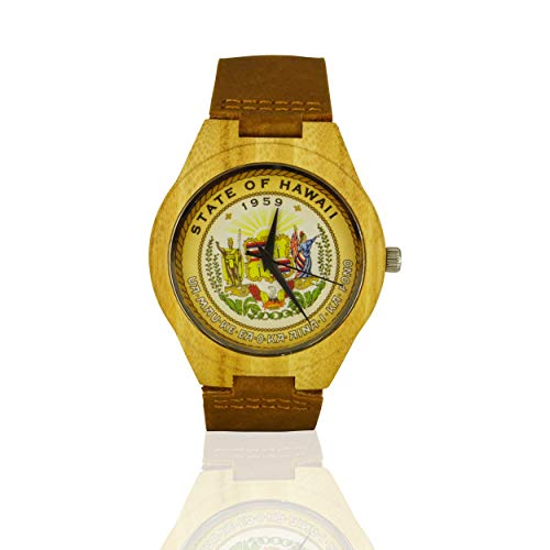 - Handmade Wooden Watch Made with Natural Bamboo with State of Hawaii Seal
