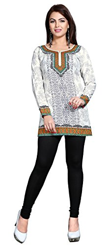 Indian Kurti Top Tunic Printed Womens Blouse India Clothes (Off-White, L)