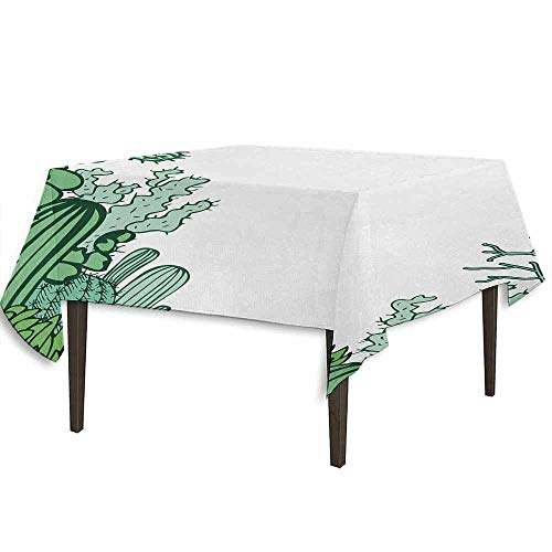 kangkaishi Cactus Washable Tablecloth Arizona Desert Themed Doodle Cactus Staghorn Buckhorn Ocotillo Plants Desktop Protection pad W50.4 x L50.4 Inch Green Pale Green Seafoam