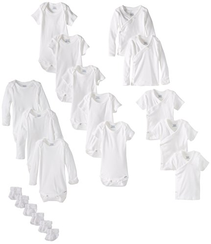 Gerber Baby Unisex' 19 Piece Baby Essentials Gift Set, White, 0-3 (White Boys Pajamas)