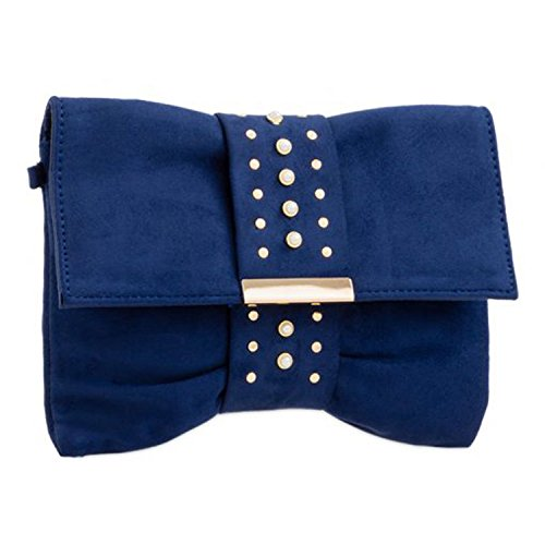 Strap Women's Medium Chain Ladies Navy Party Suede Diamante Clutch Faux Slouch Closure Pearl Xardi London Evening Fold Over Handbags Prom Shaped Sized Bow wqvgUI