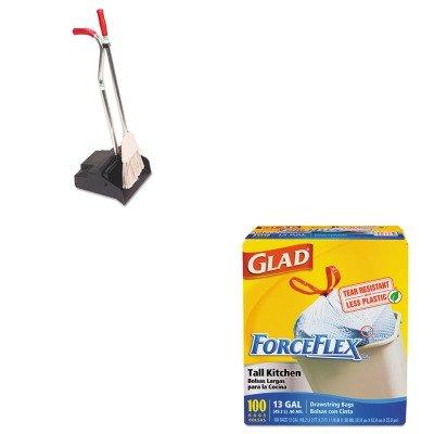 KITCOX70427UNGEDPBR - Value Kit - Ergo Dustpan/Broom, 12quot; Wide (UNGEDPBR) and Glad ForceFlex Tall-Kitchen Drawstring Bags (COX70427)