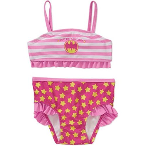 Batgirl Newborn Baby Girl Ruffle Trim 2-piece Bikini Swimsuit (6-9M)