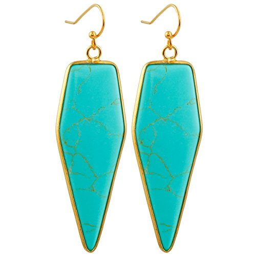 SUNYIK Women's Green Howlite Turquoise Healing Point Dangle - Ring Earring Fashion