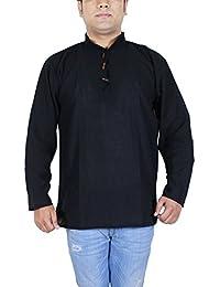 Khadi Designer Indian Cotton Kurta Shirt for Men Long Sleeve Top Yoga Dress