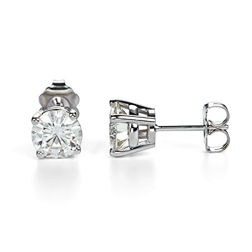 Forever One 6.5mm Round Cut Moissanite Stud Earrings, 2.00cttw DEW (G-H-I) by Charles & Colvard Created Moissanite Earring Studs