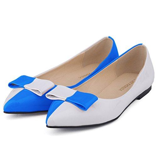 Zriey Femmes Confortable Bureau Élégant Point Toe Chaussures Plates Chaussures 6 # Verni En Cuir Ciel Bleu