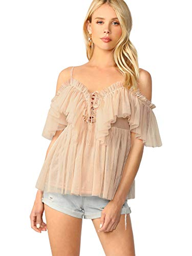 (DIDK Women's Ruffle Trim Off The Shoulder Lace Up Tie Front Peplum Top Blouse Apricot)