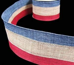 10 yd Patriotic Country Rustic Primitive Red Blue Striped Burlap Jute Like Wired Florist, Flowers, Arts & Crafts Gift Wrapping ()