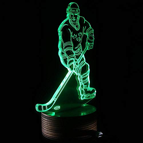 Novelty Lamp, 3D LED Lamp Hockey Player Optical Illusion Night Light, USB Powered Remote Control Changes The Color of The Light, Ideal Gift for Children's Friends and Family,Ambient Light by LIX-XYD (Image #2)