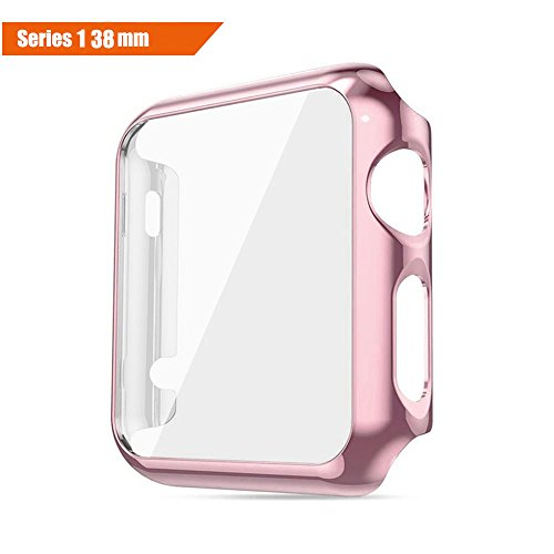 ICE FROG iWatch Series 1 38mm Case, Electroplate Metal Plated PC Slim Hard Protective Bumper HD Screen Protector Full Coverage Case Cover Shell for Apple Watch 38mm - Rose Gold