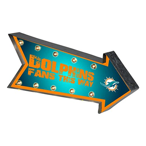Miami Dolphins Nfl Team (Miami Dolphins NFL Team Logo Light Up Marquee Wall Sign)
