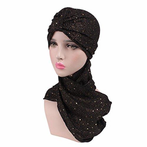 Qhome Fashion Sequined Turban Hijab Pre Tied Bandana Cap Chemo Head Scarf  Hair Cover Sleeping Hat aa9e6a07780e