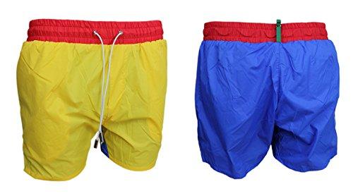 Short Slim Bleu Homme Courte Mer Bermuda Boxer Jaune Flat Bicolore Fit xnZX88Sq