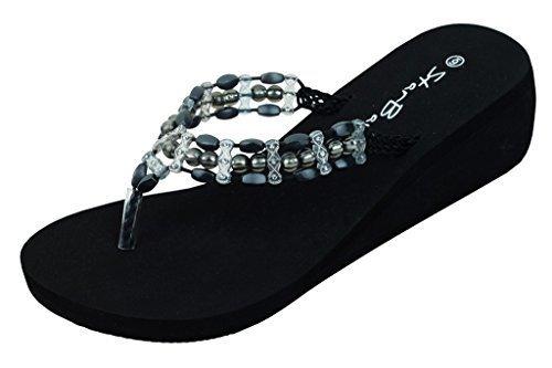 Womens Fashion Wedge Sandals Thongs Flip Flops W/Pearls (6, Black 2315)