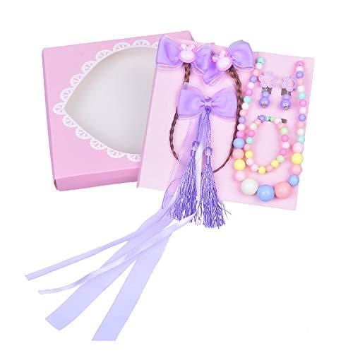 Larcenciel Kids Jewelry Girls Necklace Bracelet Earring Bow Hair Clip Wig Forehead Chain Children Dress Up Cosplay Set (Purple) ()