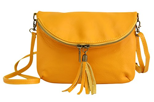 Moda bag Senf NL609 smooth Gelb Bag bag Cross body shoulder Italian bag womens Leather AMBRA leather small dwBYx6Zqd