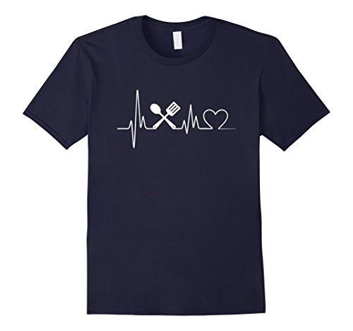 Mens Cooking Heartbeat T-Shirt - Cooking T-Shirt Medium Navy