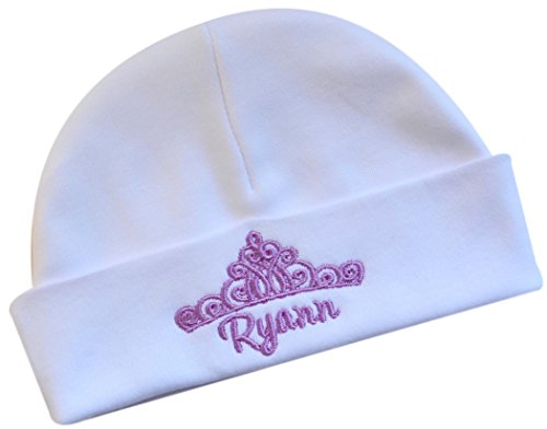 Funny Girl Designs Personalized Embroidered Baby Girl Hat with Princess Crown from with Custom Name (White HAT/Lavender - Princess Lavender Hat