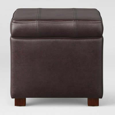 Single Storage Ottoman Faux Leather Brown - Threshold153; Brown by By THRESHOLD™