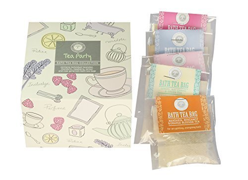 Tea Party Bath Gift Set - Set of 5 Aromatherapy Salt Tea Bags by Wild Olive
