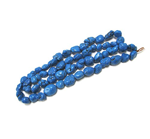 Linpeng Chalk Turquoise Stone Beads Strand, 32-Inch, Blue ()