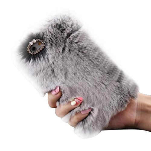 "Price comparison product image Tenworld Fluffy Villi Fur Plush Wool Bling Back Cover Case for iPhone 7 Plus 5.5 inch / iPhone 7 4.7 inch (For iPhone 7 Plus 5.5"", Gray)"