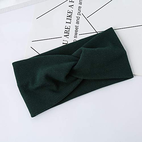 Woman Headband Turban Solid Headbands Girls Makeup Fabric Elastic Hair Band Twisted Knotted Hair Accessories Headwrap green]()