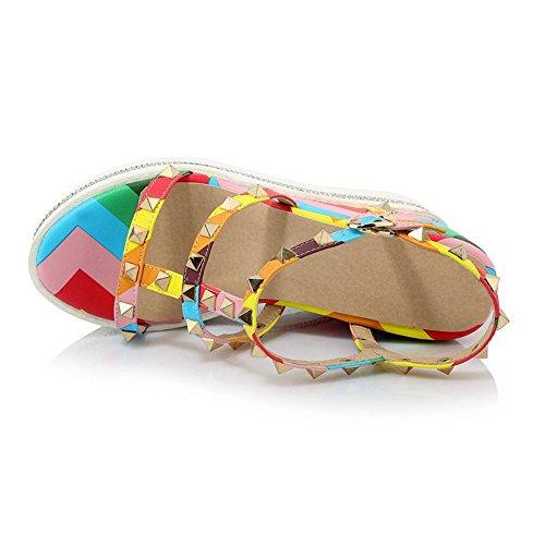 AgooLar Mujer Plataforma Sólido Hebilla Puntera Abierta Sandalia Varios Colores
