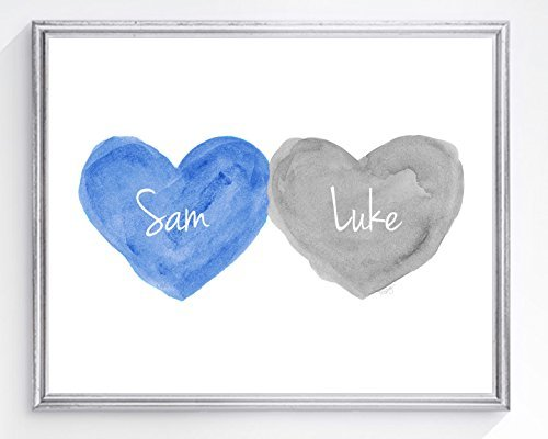 Brothers Wall Decor, Personalized Print in Blue and Gray, 8x10, UNFRAMED, Horizontal or (Watercolor Birth Print)
