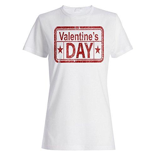 Valentinstag lustige Briefmarkenweinlese Damen T-shirt f480f