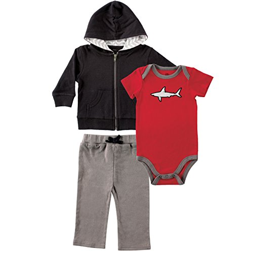 Yoga Sprout Baby-Boys Shark Collection Hoodie Bodysuit and Pant Set, Black/Red, 24 (Baby Boy Collection)