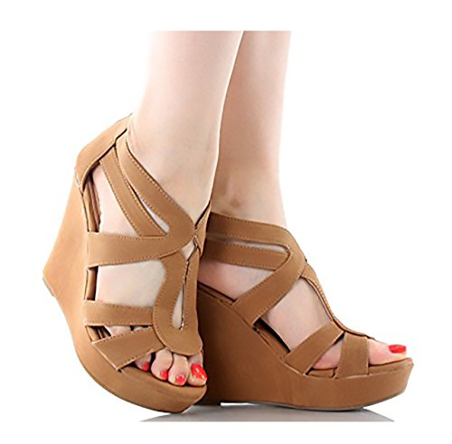 TOP Moda Women's Strappy Open Toe Platform Wedge TAN for sale  Delivered anywhere in USA