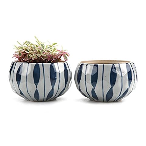 T4U 4.25 Inch Ceramic Japanese Style Clay Serial Blue Flower succulent Plant Pot Cactus Plant Pot Flower Pot Container Planter Package 1 Pack of 2