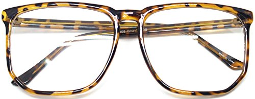 Big Square Horn Rim Eyeglasses Nerd Spectacles Clear Lens Classic Geek Glasses (Leopard7808, - Plastic Eyeglass Large Frames