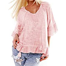 Tantisy ♣↭♣ Women's Summer Cotton and Linen T Shirt V-Neck Ruffle Sleeve Comfy Ladies Drawstring Loose Blouse