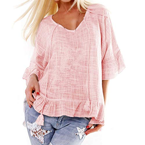 Tantisy ♣↭♣ Women's Summer Cotton and Linen T Shirt V-Neck Ruffle Sleeve Comfy Ladies Drawstring Loose Blouse Pink
