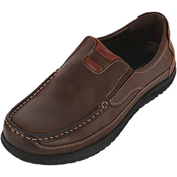 CREPUSCOLO Men's Leather Shoes Casual Slip-on Loafers Comfortable Walking Shoe for Male