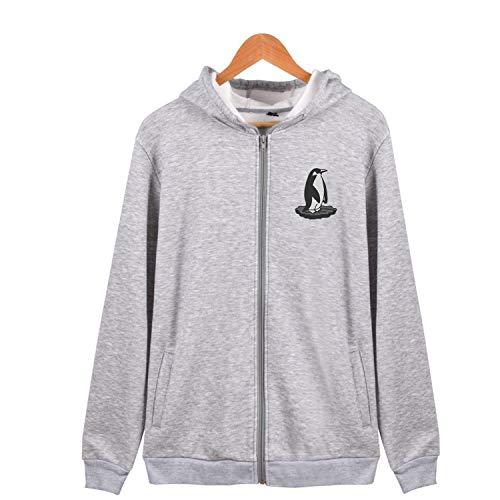 Penguin Animals Full Zipper Hoodies Soft Cotton Long Sleeve Sweatshirt Pocket