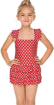 Arshiner One Piece Flower Swimwear Ruffle Swimsuit for Little Girls
